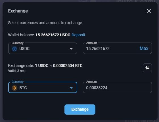 Exchange Currencies Directly in Your PrimeXBT Wallet